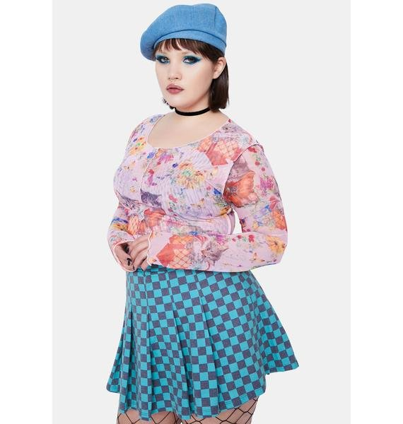 NEW GIRL ORDER Curve Sweet Kitty Mesh Top