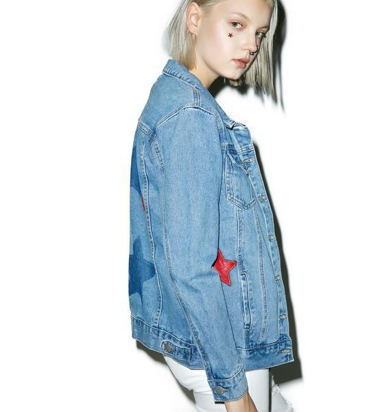 Glamorous Star Print Denim Jacket