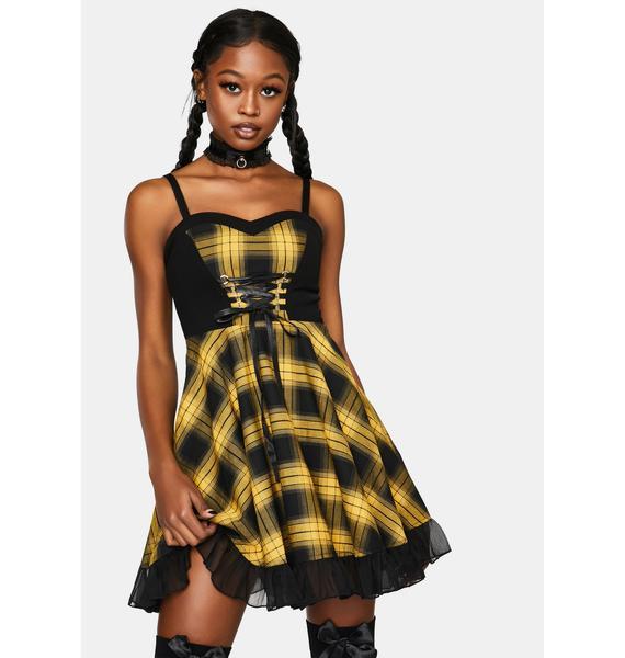 Punk Rave Stitched Plaid Braces Dress