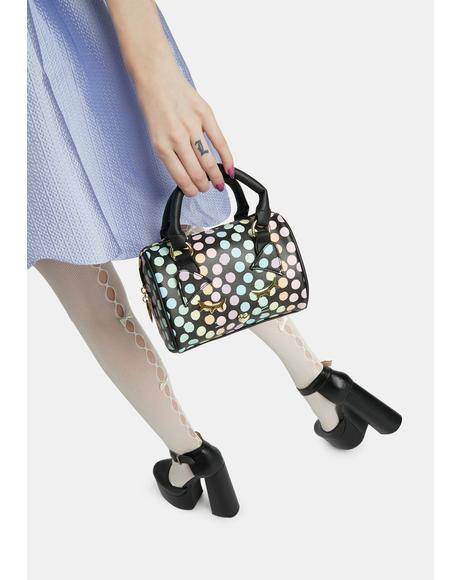 Polka Dot Kitty Kitsch Barrel Bag