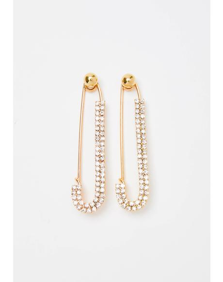 Bling Baddie Safety Pin Earrings