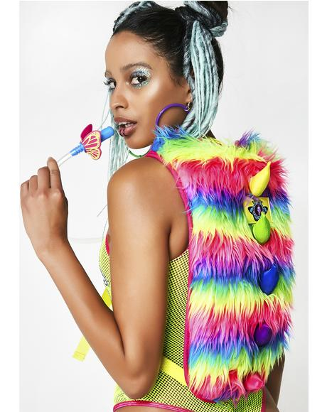 Neon Furry Monster Hydration Backpack