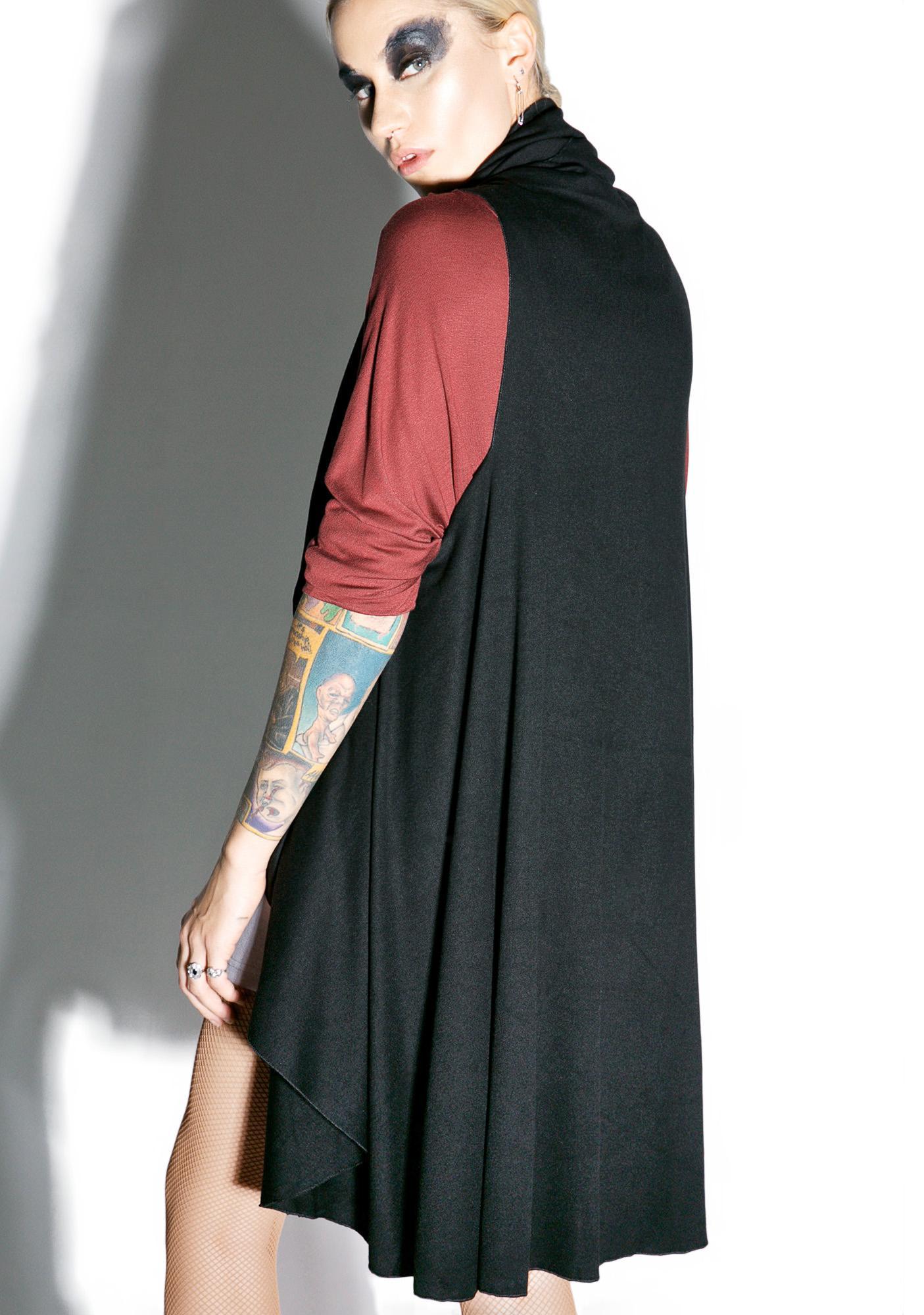 MNML Midnight Shadow Sleeveless Hooded Cardigan | Dolls Kill