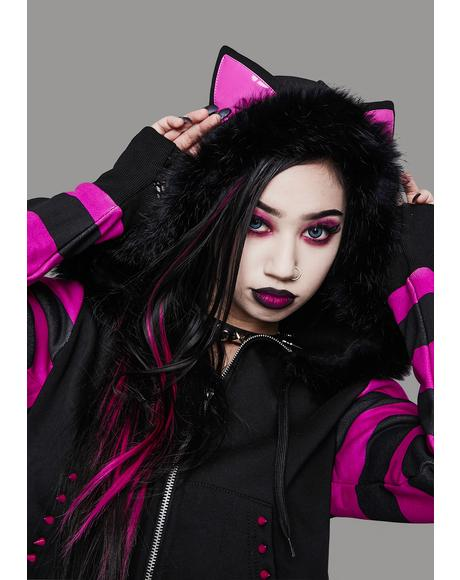 Psycho Kitty Striped Zip-Up Hoodie