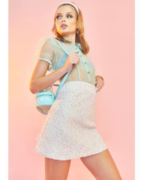 Blanc We're Going Shopping Mini Skirt