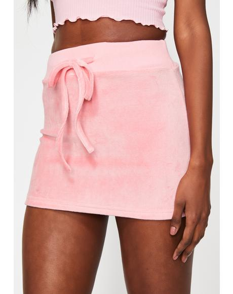 Pastel Planet Velour Mini Skirt