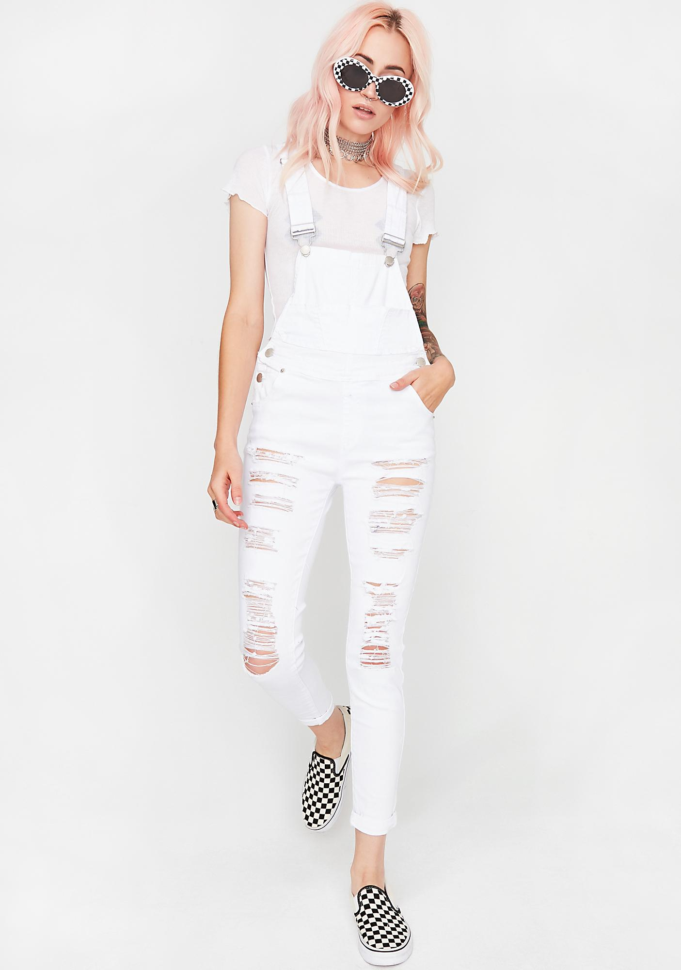 Icy Never Unseen Distressed Overalls