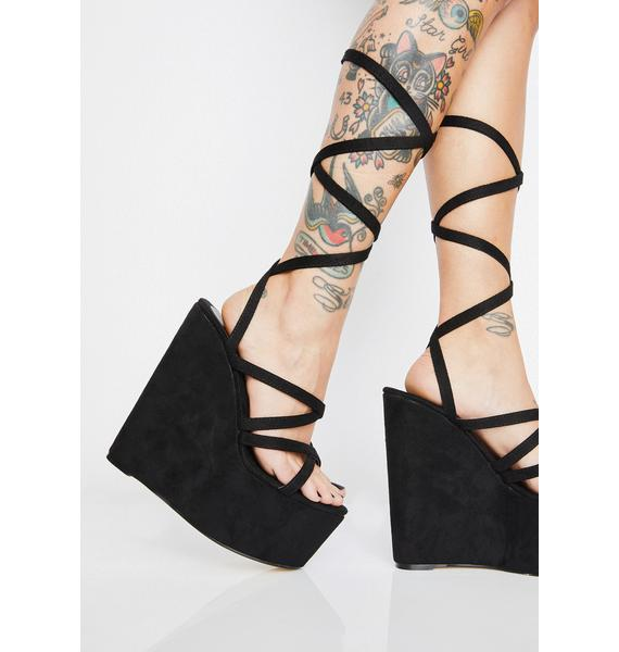 Strap Me Up Lace Up Wedges