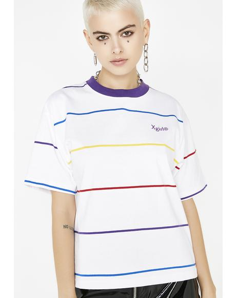 Rainbow Stripe Short Sleeve Tee