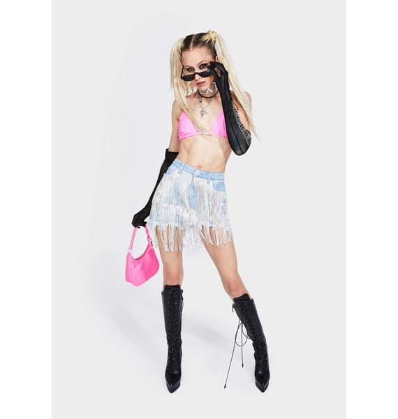 Sicko Cartel Crystal Denim Skirt