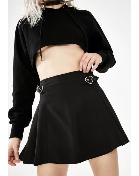 Pleated Heart Buckle Mini Skirt