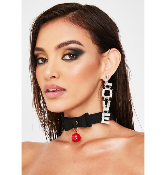 Forplay Red Ball Bow Choker