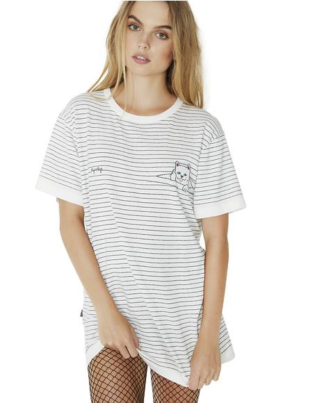 Peeking Nermal Stripe Tee