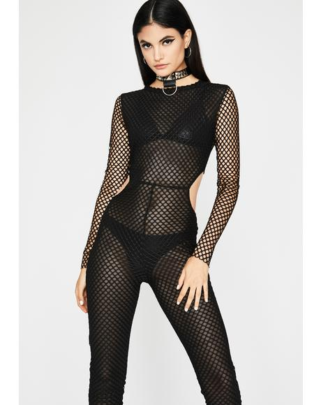 Mistress Luster Fishnet Jumpsuit