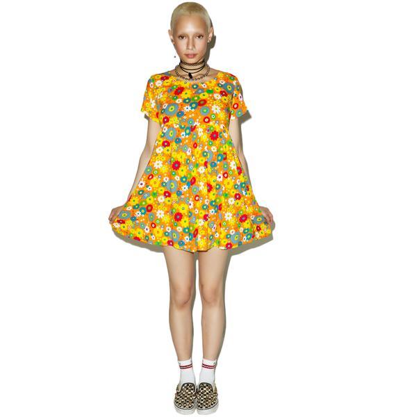 Motel Playtime Floral Sky Babydoll Dress