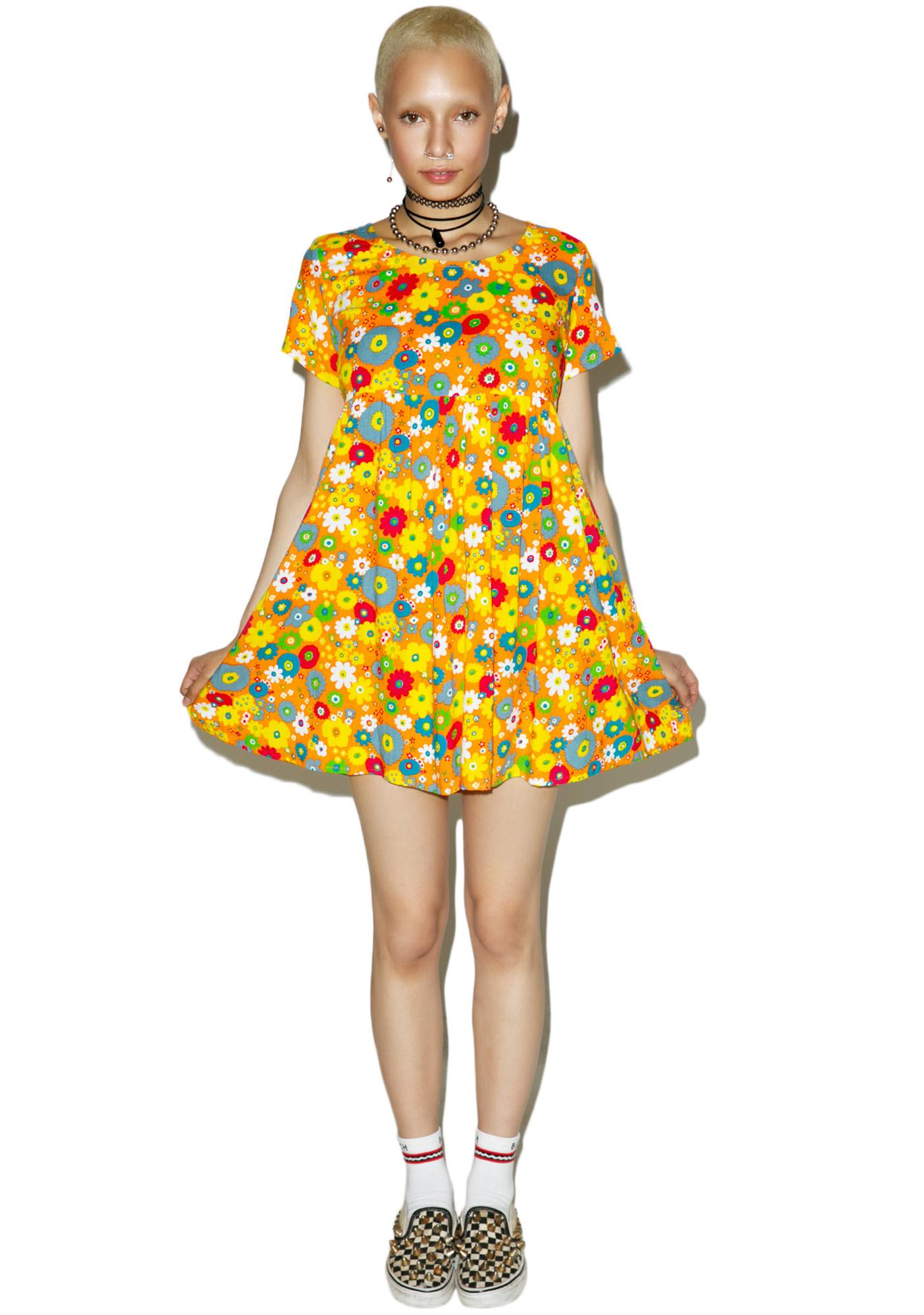 Motel Playtime Floral Sky Babydoll Dress
