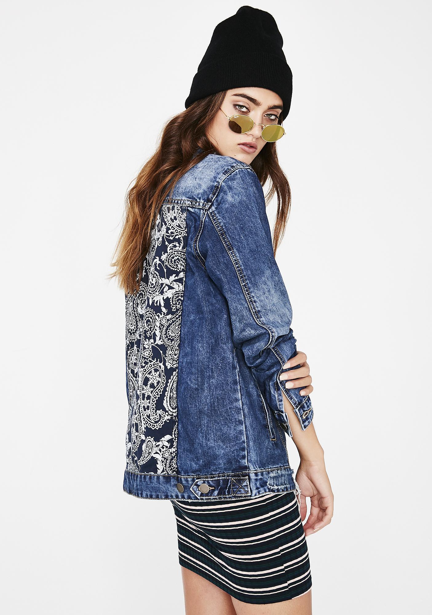 Fine Print Denim Jacket
