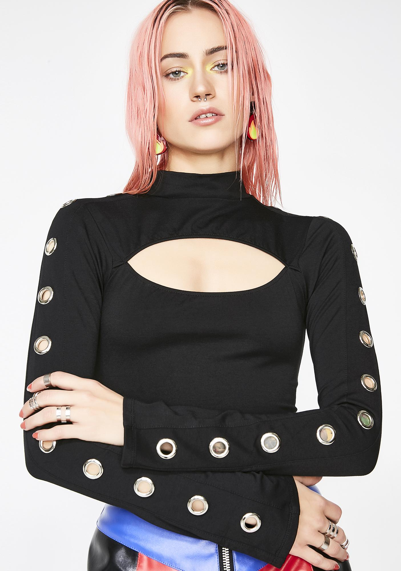 Current Mood Tough Chick Eyelet Top