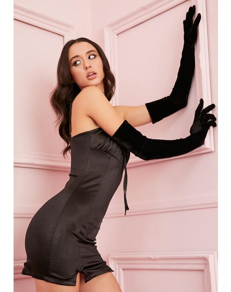 Noir Cupid's Crush Satin Dress
