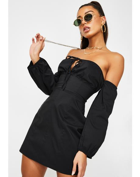 Black Mini Off Shoulder Dress
