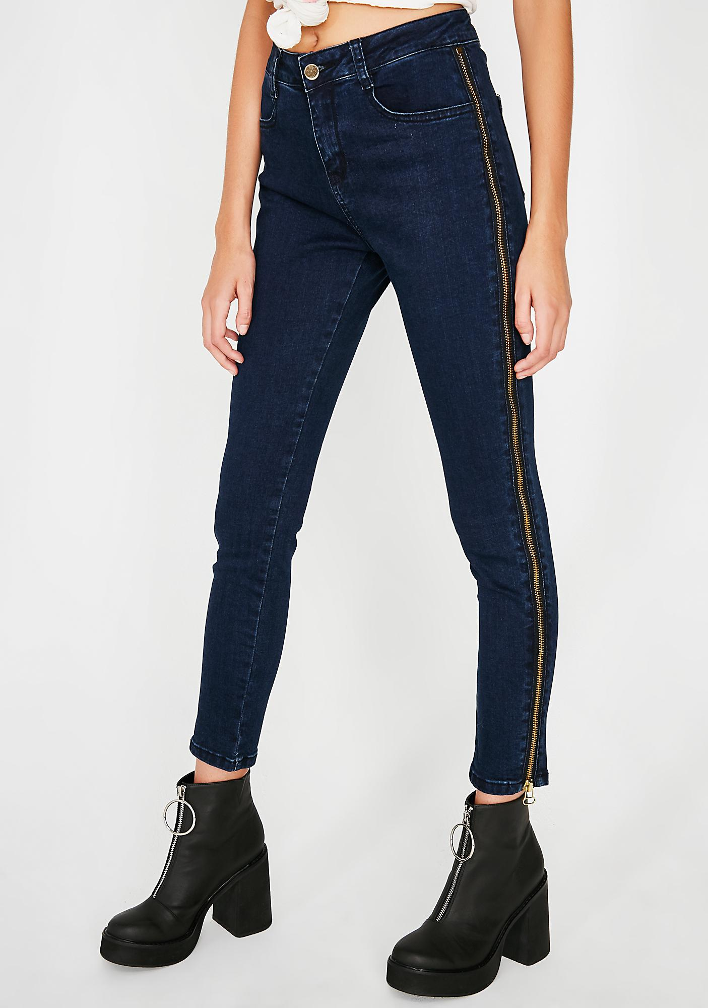 Zip Down Denim Jeans