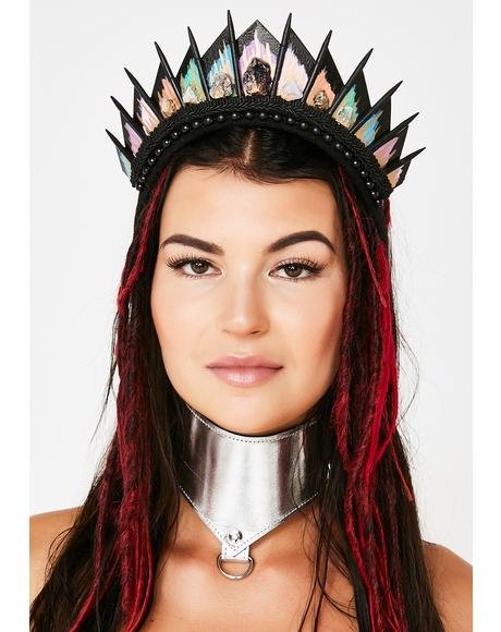 Rainbow Crystal Black Blade Crown