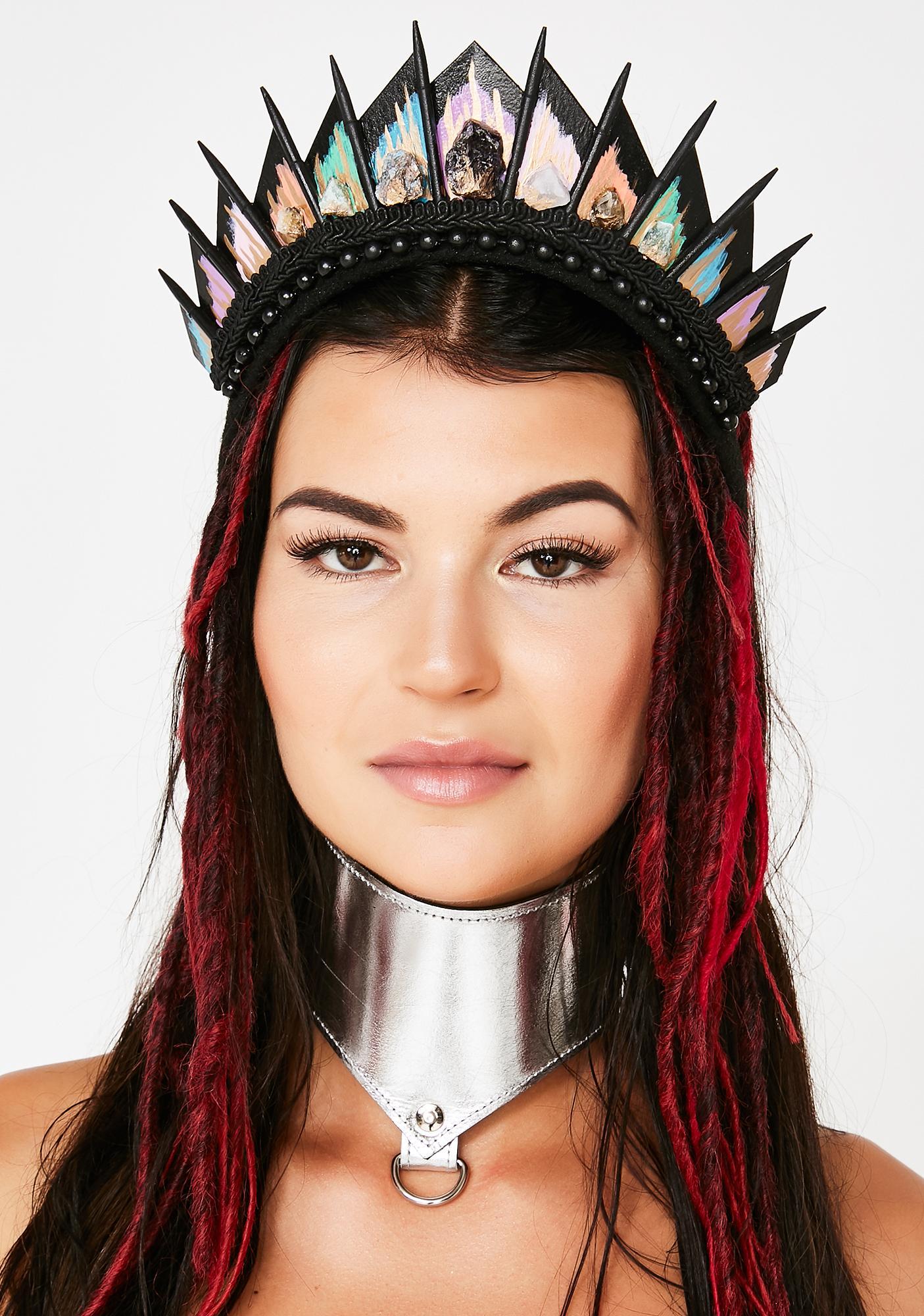 Loschy Designs Rainbow Crystal Black Blade Crown