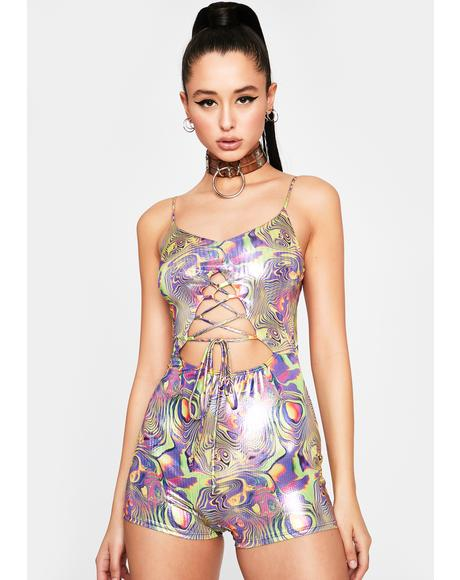 Trippy Instincts Lace Up Romper