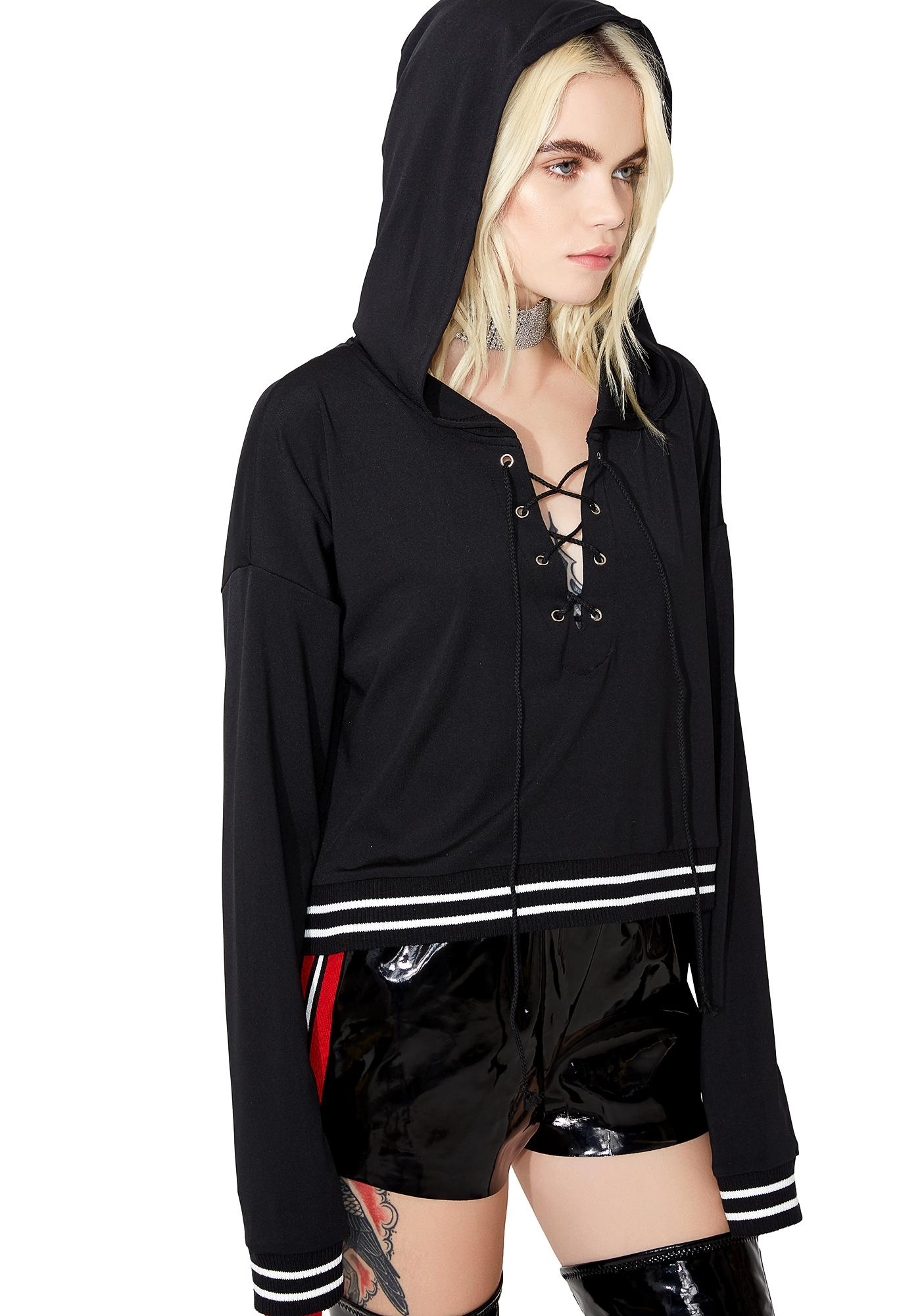 Always Tardy Lace-Up Hoodie