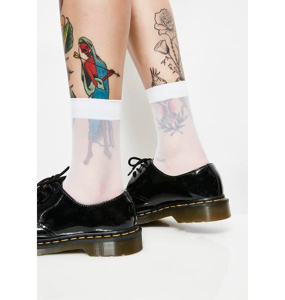 Blurred Out Sheer Crew Socks