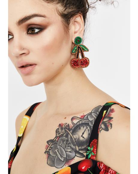 The Juice Is Real Cherry Earrings