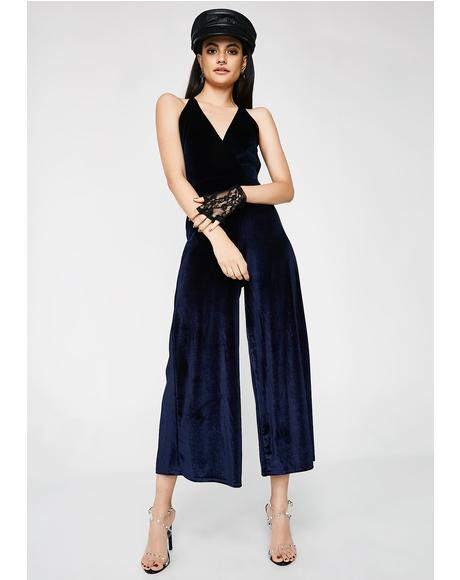 Follow My Lead Velvet Jumpsuit
