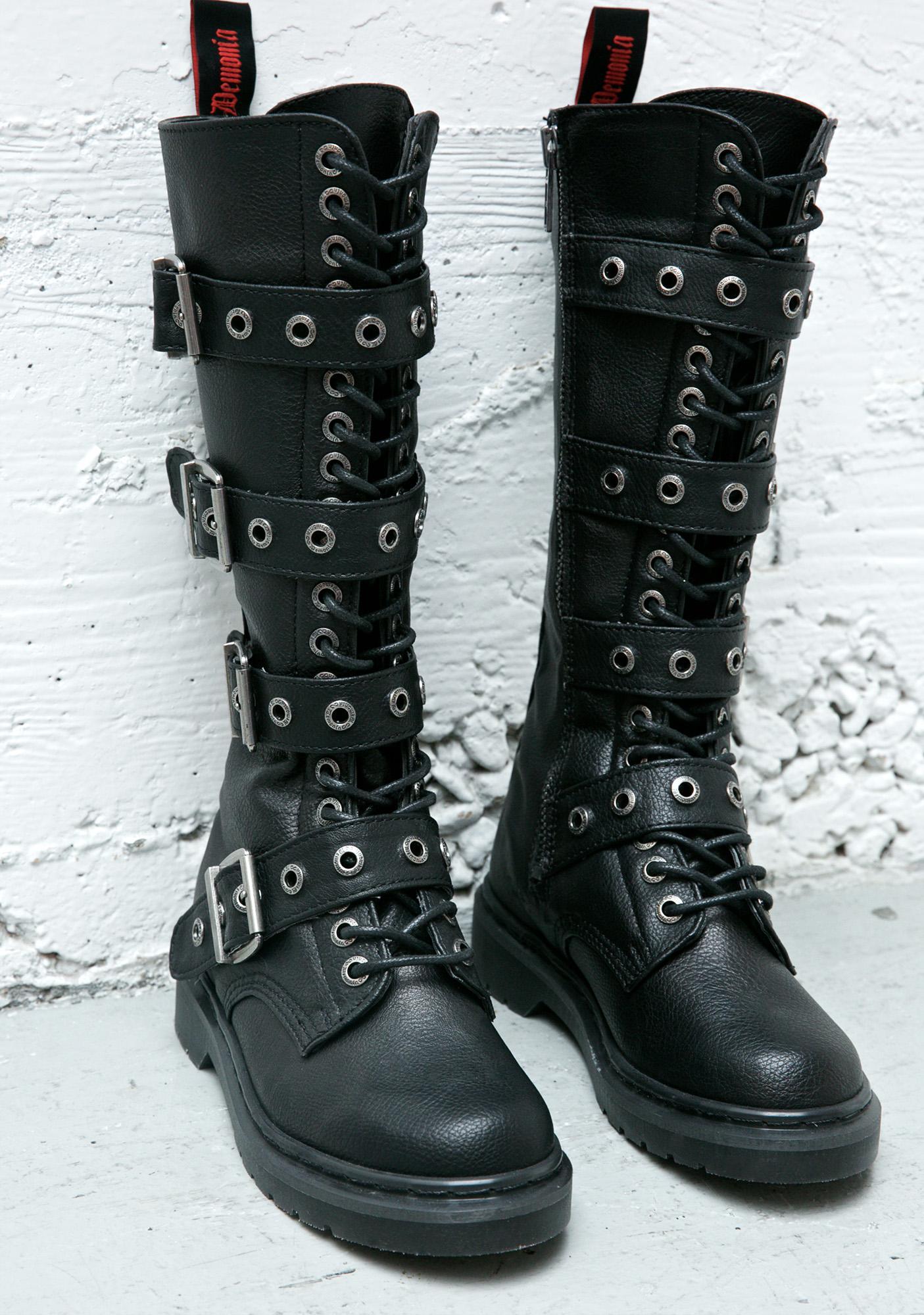 Demonia Fatality Tall Combat Boots