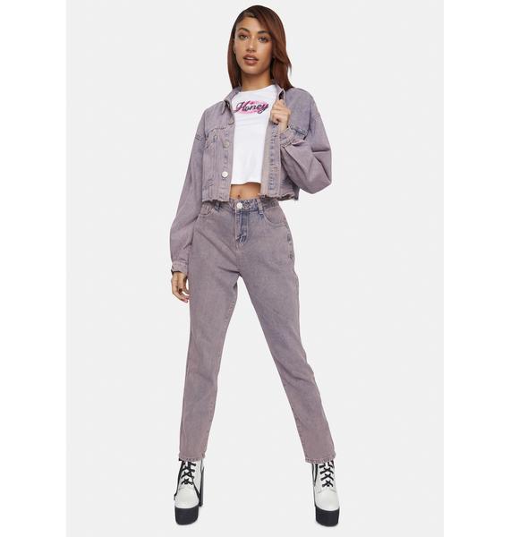 Glamorous Pink Tint Denim Jacket