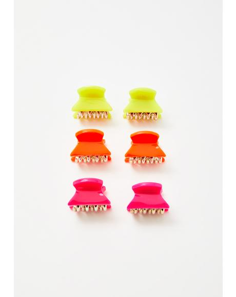 Neon Sass Hair Clips Set