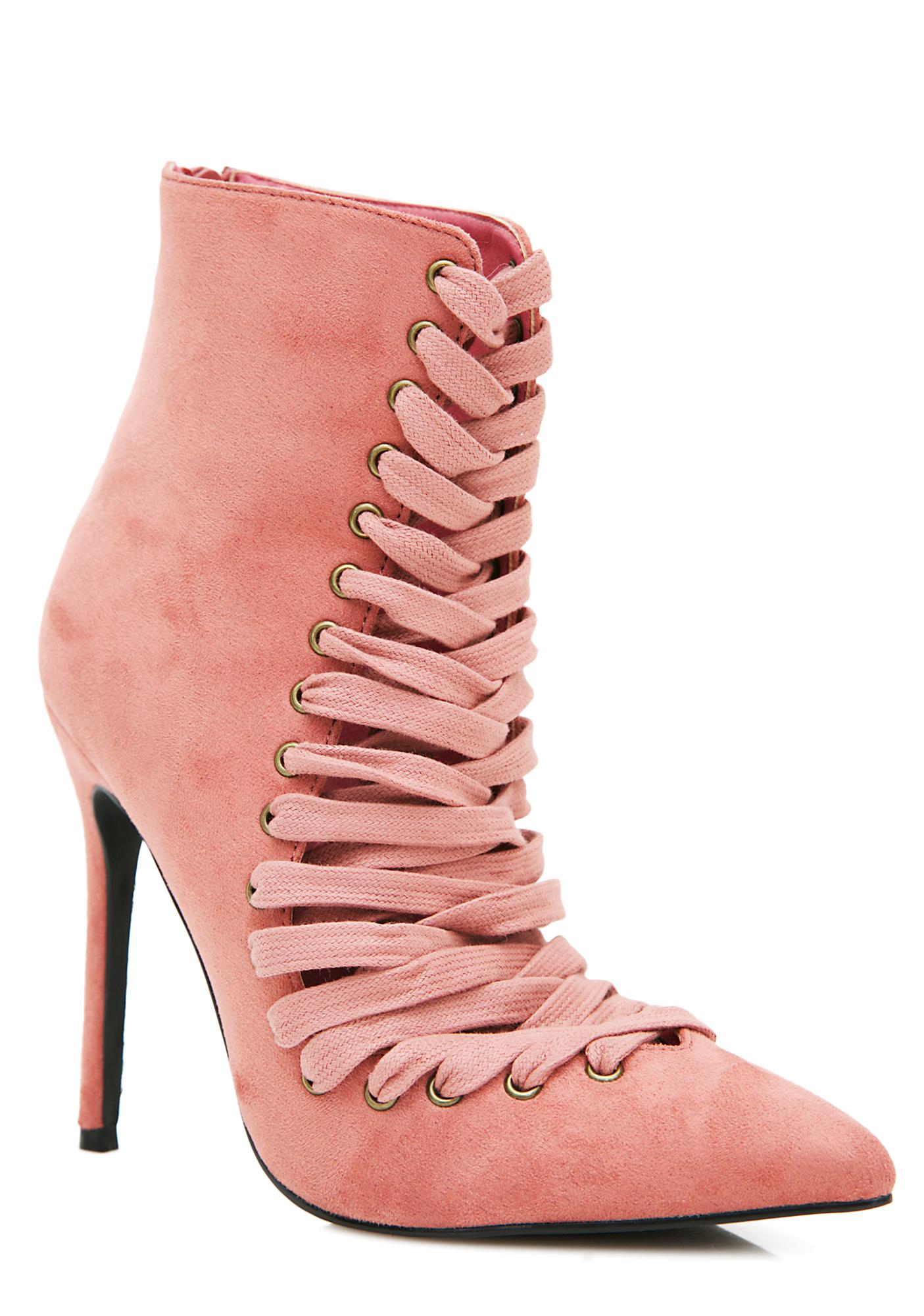 Privileged Vamp Lace-Up Stiletto Booties