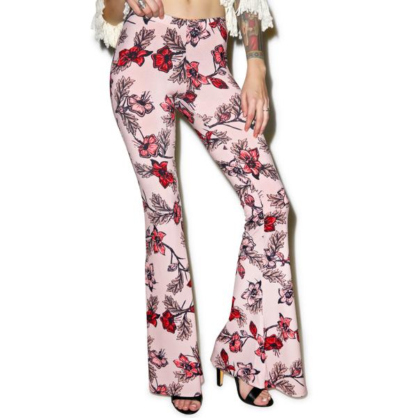For Love & Lemons Blush Ojai Bell Bottoms