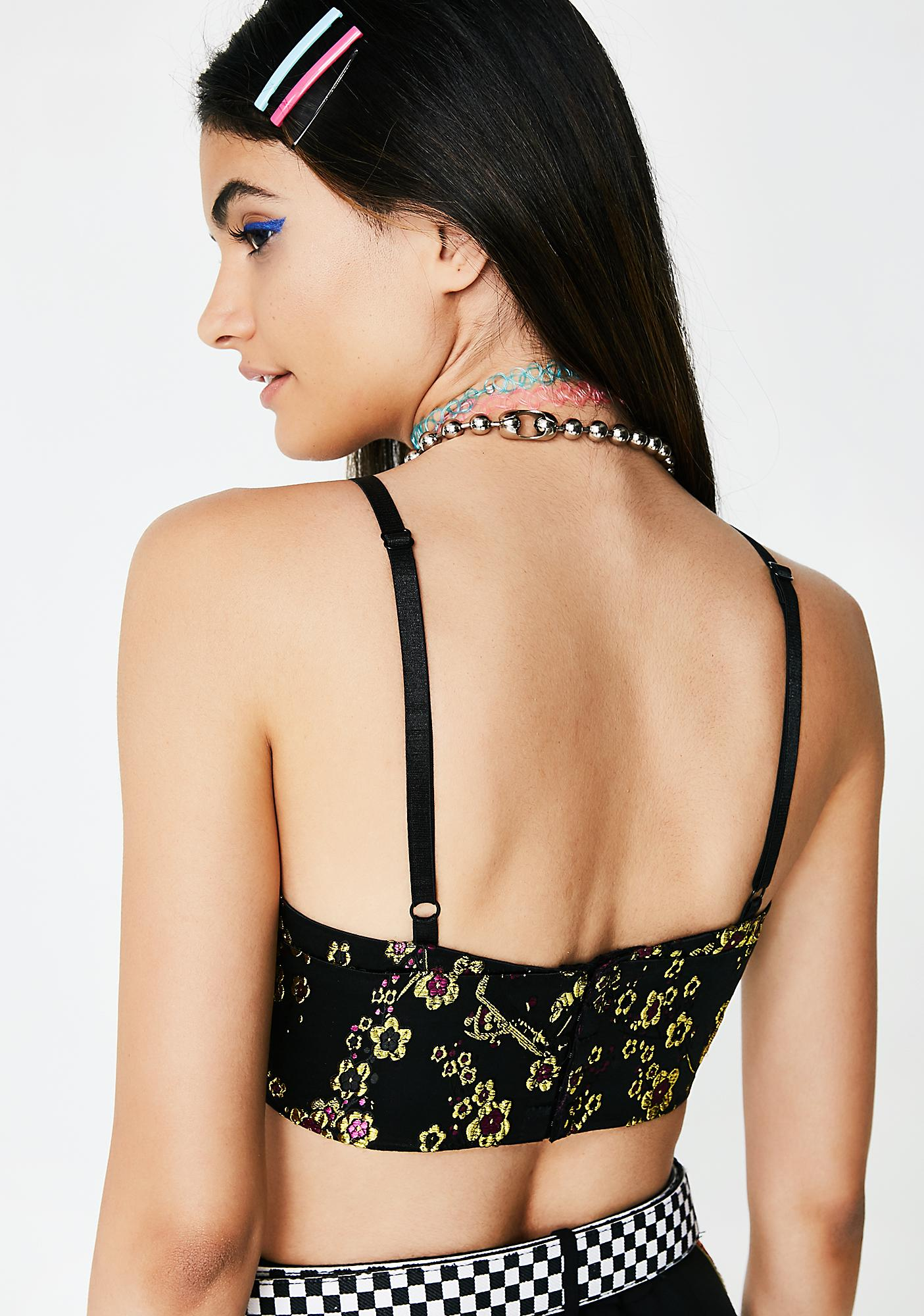 Glamorous Dark Sakura Embroidered Bra Top