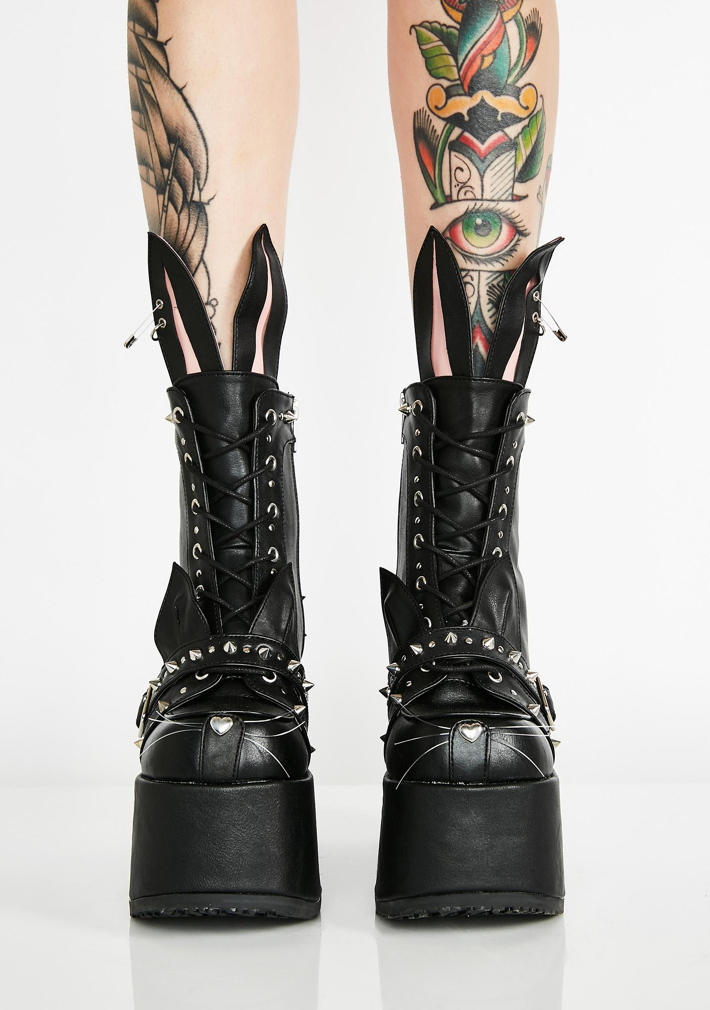 Demonia Baddie Bunny Platform Boots