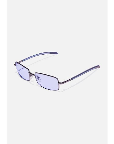 Blue Square Up Tinted Sunglasses