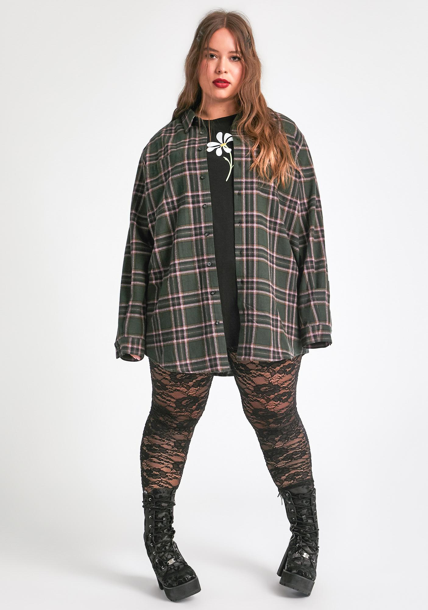 dELiA*s by Dolls Kill Just Dreaming My Dreams Flannel Shirt