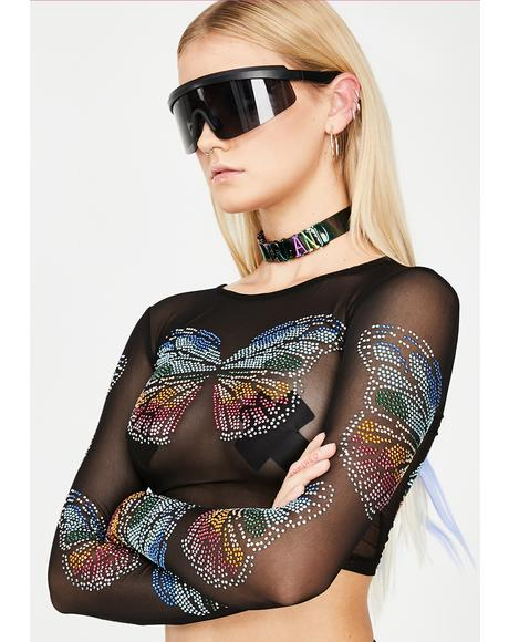 Butterfly Matrix Sheer Crop Top