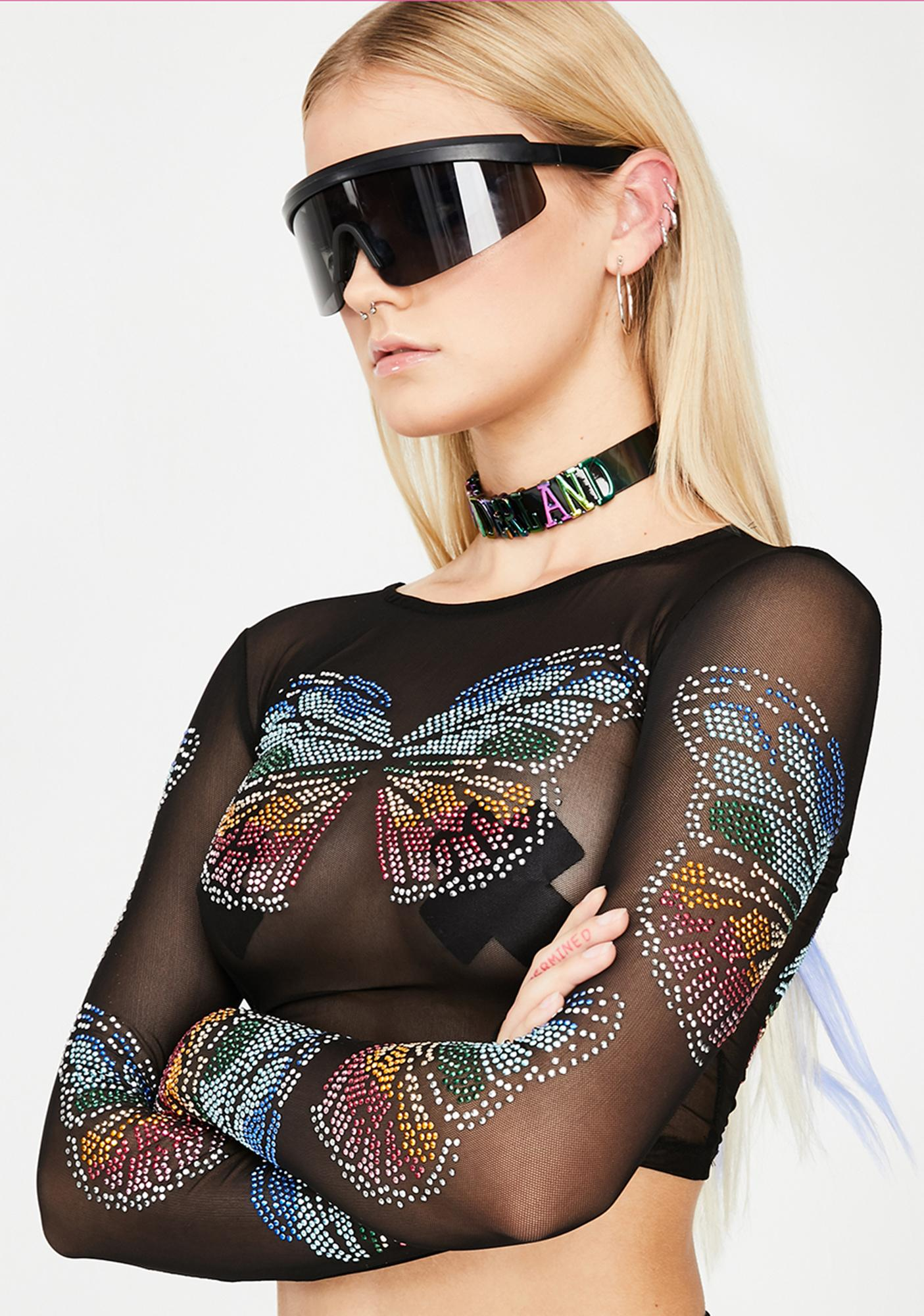 Club Exx Butterfly Matrix Sheer Crop Top
