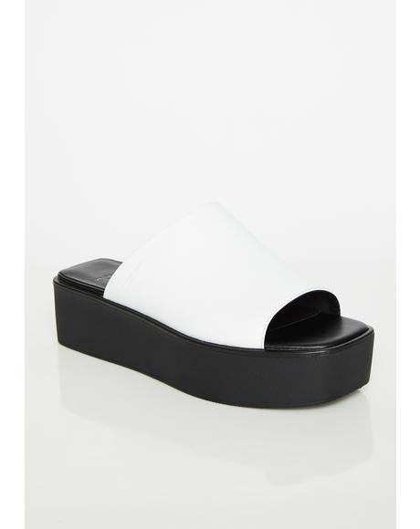 Bonnie Leather Platform Slides