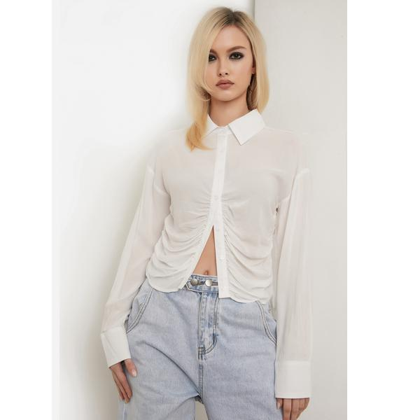 Angel Roll With It Ruched Button Up Top