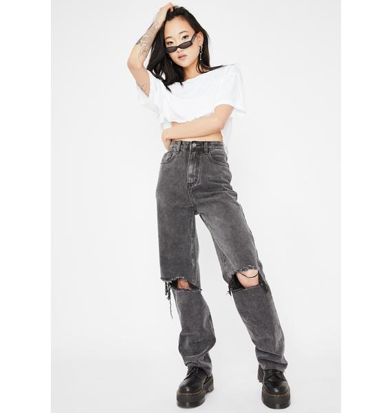 Momokrom Washed Straight Leg Distressed Jeans