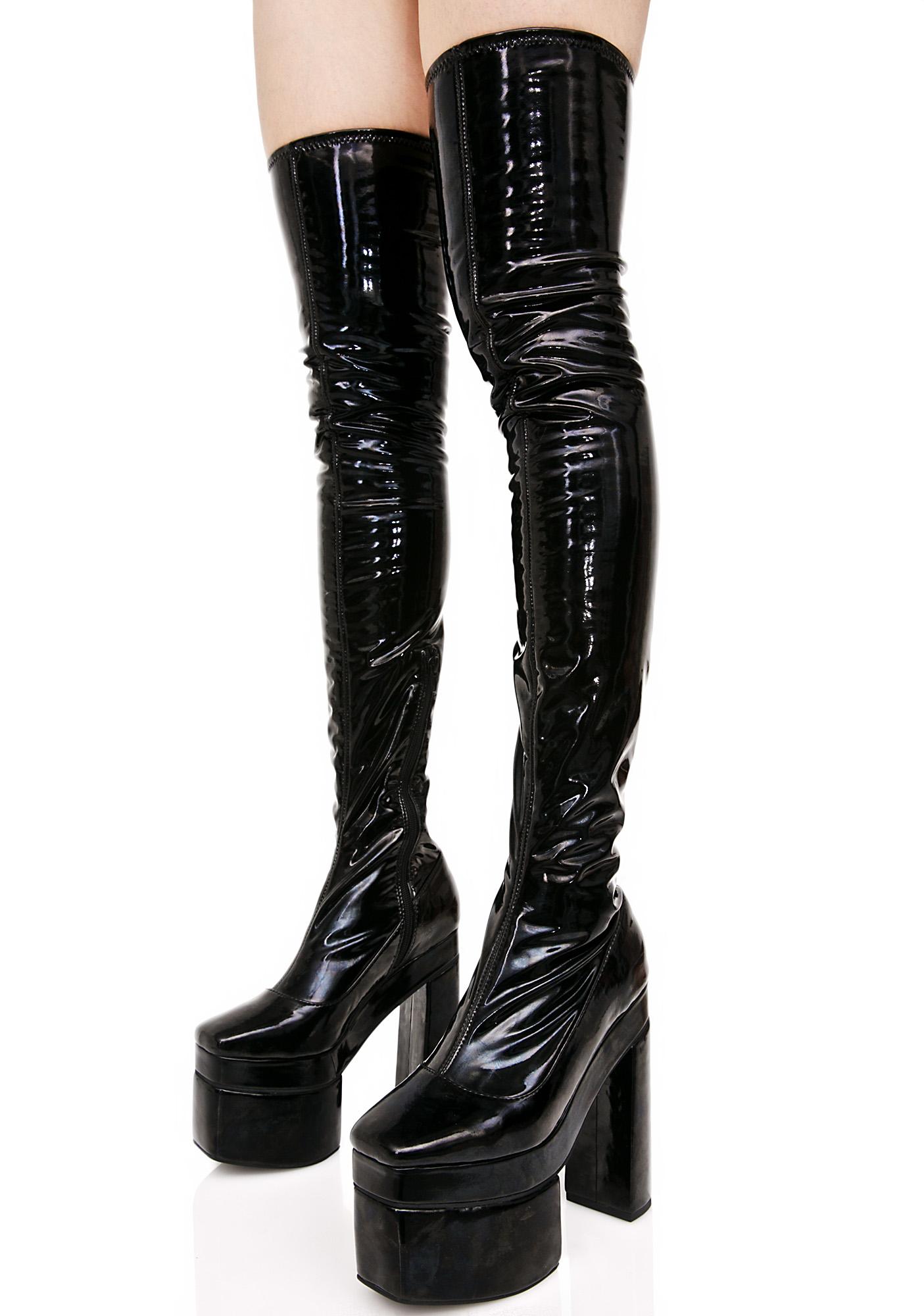Black Vinyl Thigh High Platform Boots