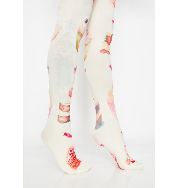 But First Dessert Graphic Tights