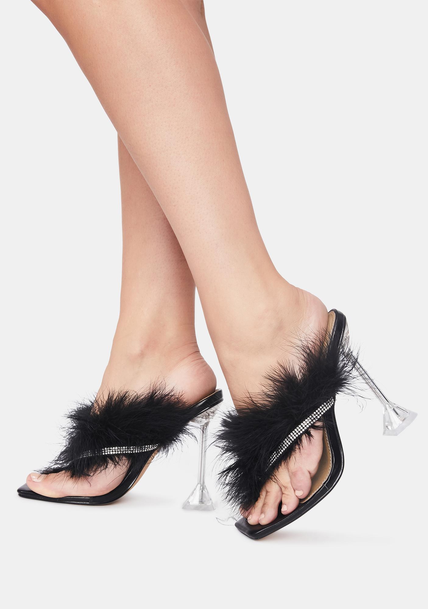 Noir Diva Dividends Marabou Heels