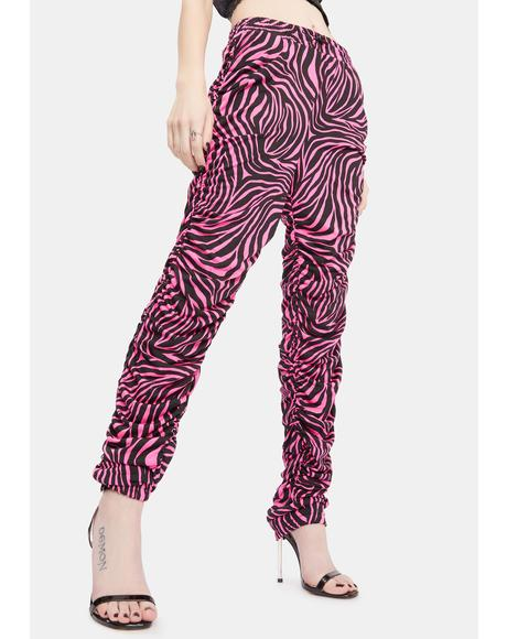 Diva Serious Show Off Ruched Zebra Print Joggers